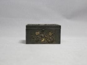 清银錾花福寿盒