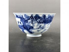 青花山水人物茶碗