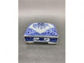 青花博古纹长方印泥盒